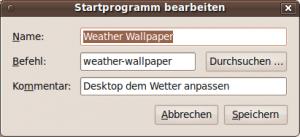Bildschirmfoto mit Einstellungen für Weather Wallpaper auf Ubuntu