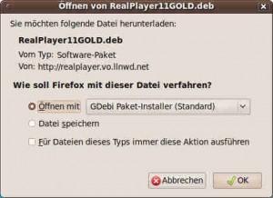 Öffnen von RealPlayer11GOLD.deb