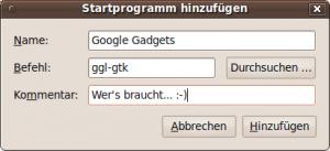 Google Gadgets Startprogramm hinzufuegen