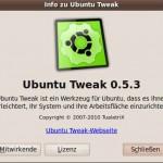 Bildschirmfoto-Info zu Ubuntu Tweak