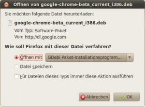 Öffnen von Google-Chrome-Beta