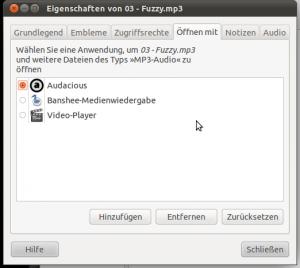 Ubuntu Screenshot - Öffnen mit ...