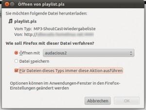 Ubuntu Screenshot - Für Dateien dieses Typs immer diese Aktion ausführen