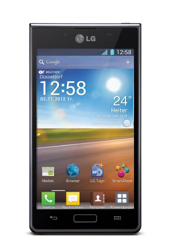 LG P700 Optimus L7 Android Smartphone (10,9 cm (4,3 Zoll) Touchscreen, 5 Megapixel Kamera, NFC, Android 4.0 OS) schwarz